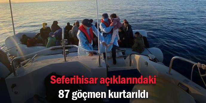 Seferihisar'da 87 göçmen kurtarıldı